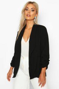 Womens Plus Lapel Detail Ruched Blazer - Black - 20, Black