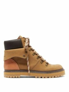 See By Chloé - Foldover Suede Hiking Boots - Womens - Tan