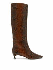 Jimmy Choo - Maxima 35 Python Effect Leather Knee High Boots - Womens - Tan Multi