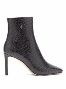 Jimmy Choo - Minori 85 Crocodile Effect Leather Ankle Boots - Womens - Dark Grey