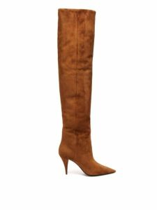 Saint Laurent - Kiki Slouchy Suede Over The Knee Boots - Womens - Tan