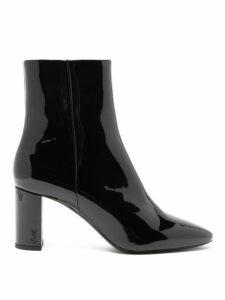 Saint Laurent - Lou Patent Leather Ankle Boots - Womens - Black
