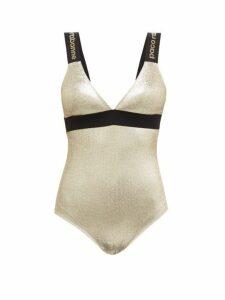 Paco Rabanne - Logo Intarsia Straps Metallic Jersey Bodysuit - Womens - Gold