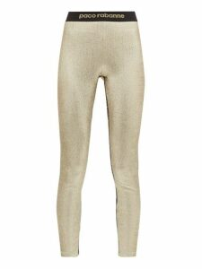 Paco Rabanne - Logo Trim Metallic Jersey Leggings - Womens - Gold