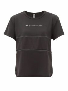 Adidas By Stella Mccartney - Run Loose Mesh Insert Stretch Jersey T Shirt - Womens - Black