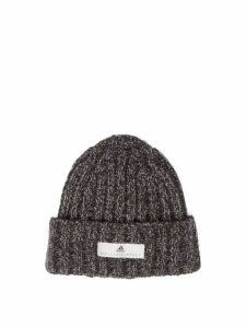 Adidas By Stella Mccartney - Logo Patch Knitted Beanie Hat - Womens - Black