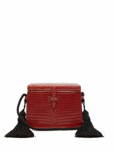 Hunting Season - Square Trunk Mini Lizard-skin Cross-body Bag - Womens - Dark Red
