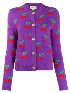 Gucci GG cherry jacquard wool knit cardigan - PURPLE