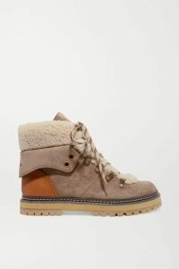 See By Chloé - Shearling And Leather-trimmed Suede Ankle Boots - Taupe