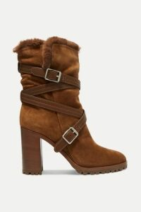 Gianvito Rossi - 85 Buckled Leather-trimmed Suede Ankle Boots - Tan