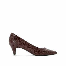 Pointed Toe Heels with Crocodile Print