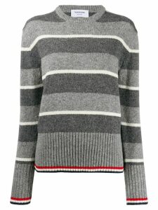 Thom Browne Wide Repp Stripe Relaxed Pullover - Grey