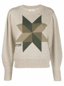 Isabel Marant Étoile cropped logo knit sweater - Neutrals