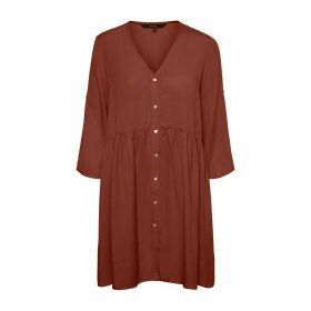 Short Button-Through Dress with 3/4 Length Sleeves