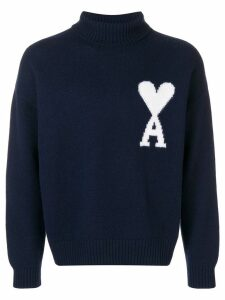 Ami Paris Ami De Coeur Intarsia Oversize Funnel Neck Felted Sweater -