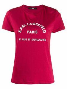 Karl Lagerfeld address print T-shirt - PINK