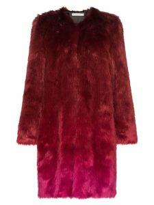 Mary Katrantzou Thalia ombre faux fur coat - Red