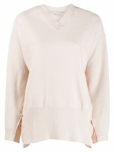 Stella McCartney ruched sides V-neck sweater - PINK