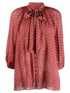 Zimmermann polka-dot flared blouse - Pink