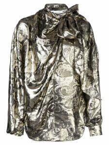 Oscar de la Renta bow embellished blouse - GOLD