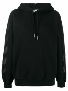 Off-White logo drawstrings hoodie - Black