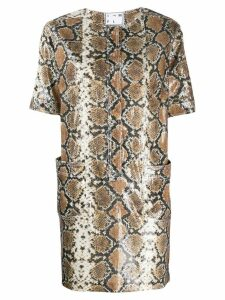 In The Mood For Love snakeskin print mini dress - Neutrals