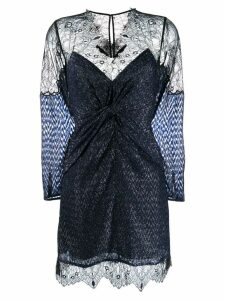 Self-Portrait lace panel mini dress - Blue