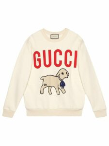 Gucci lamb patch oversized sweatshirt - White