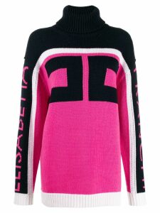 Elisabetta Franchi high-neck logo jumper - Pink