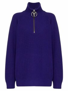 Filles A Papa half-zip ribbed sweater - Blue