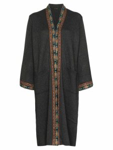 Etro embroidered-trim long cardigan - Grey