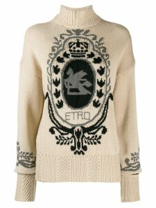 Etro intarsia logo turtleneck sweater - NEUTRALS