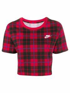 Nike cropped plaid T-shirt - Red