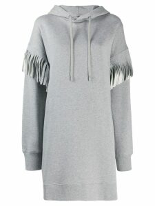 Maison Margiela fringed long-line hoodie - Grey