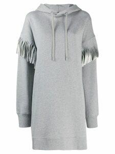 Maison Margiela fringed long-line hoodie - Grey