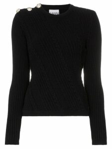 GANNI embellished knitted jumper - Black
