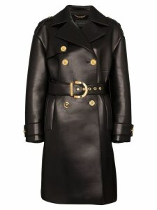 Versace lambskin leather trench coat - Black