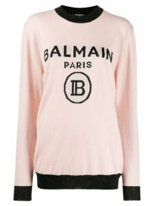 Balmain oversized logo knitted sweater - PINK