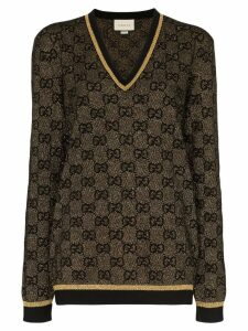 Gucci V-neck lurex knit GG sweater - Black
