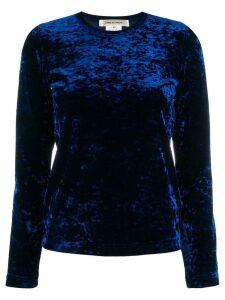 Comme Des Garçons velvet round neck top - Blue