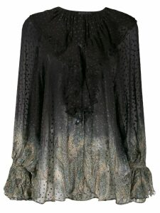 Etro dotted sheer paisley blouse - Black