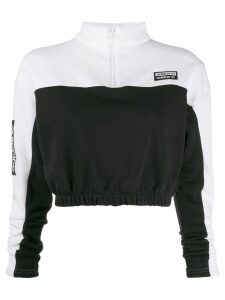 adidas cropped zip-up jumper - Black