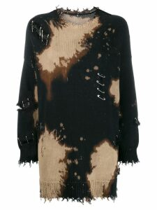 R13 distressed sweater with safety pins - Black