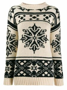 Semicouture snow flakes intarsia jumper - NEUTRALS