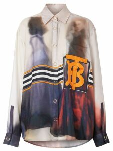Burberry Victorian Photograph Print Silk Shirt - Purple