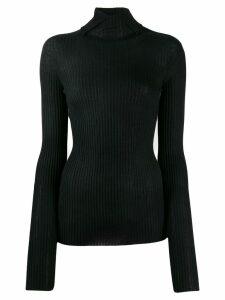 Jil Sander turtleneck ribbed knit sweater - Black