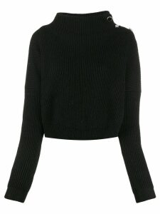 LIU JO cropped ribbed jumper - Black