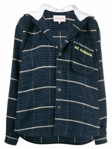 Natasha Zinko stripe hoodie shirt - Blue