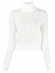 LIU JO stud-embellished turtleneck jumper - White
