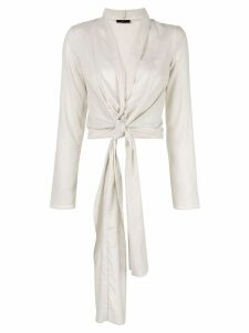 Voz long-sleeve wrap blouse - White